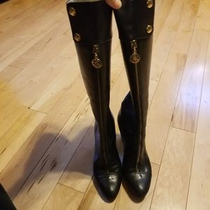 Bellofato tall black leather boots front zip 6